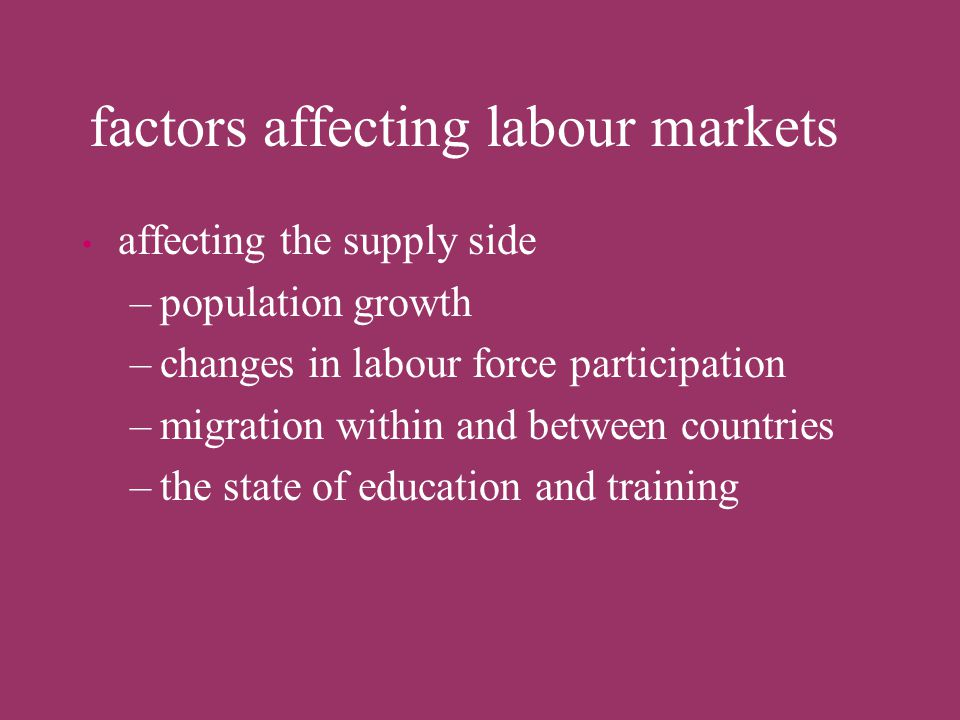 factors affecting labour markets affecting both supply and demand side –failing institutions labour market information –political instability, conflic