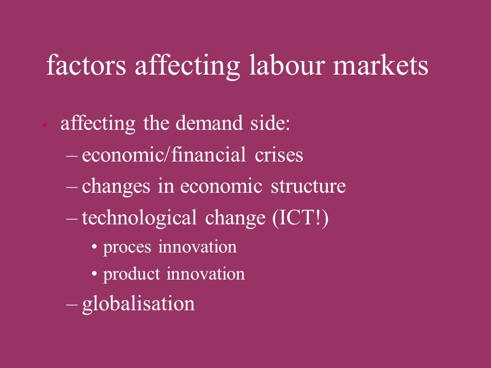 factors affecting labour markets affecting the supply side –population growth –changes in labour force participation –migration within and between cou