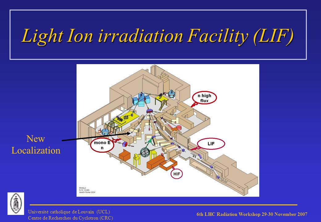 6th LHC Radiation Workshop 29-30 November 2007 Université catholique de Louvain (UCL) Centre de Recherches du Cyclotron (CRC) Light Ion irradiation Facility (LIF) New Localization