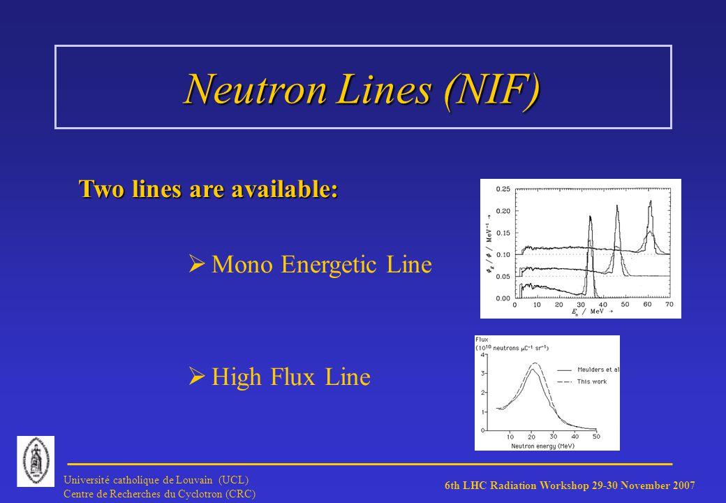 6th LHC Radiation Workshop 29-30 November 2007 Université catholique de Louvain (UCL) Centre de Recherches du Cyclotron (CRC) Neutron Lines (NIF) Two lines are available: Mono Energetic Line High Flux Line