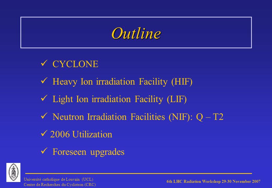 6th LHC Radiation Workshop 29-30 November 2007 Université catholique de Louvain (UCL) Centre de Recherches du Cyclotron (CRC) High Flux Neutron Line (T2 cave) Reaction Reaction: 9 Be + d n + X using a 50 MeV beam 1 cm thick target Mean energy Mean energy: 20.4 MeV (1 MeV equivalent 1.95) Typical flux Typical flux: 7.3 * 10 10 neutrons / cm² s at 9 cm from target (spot size 25 mm diameter)