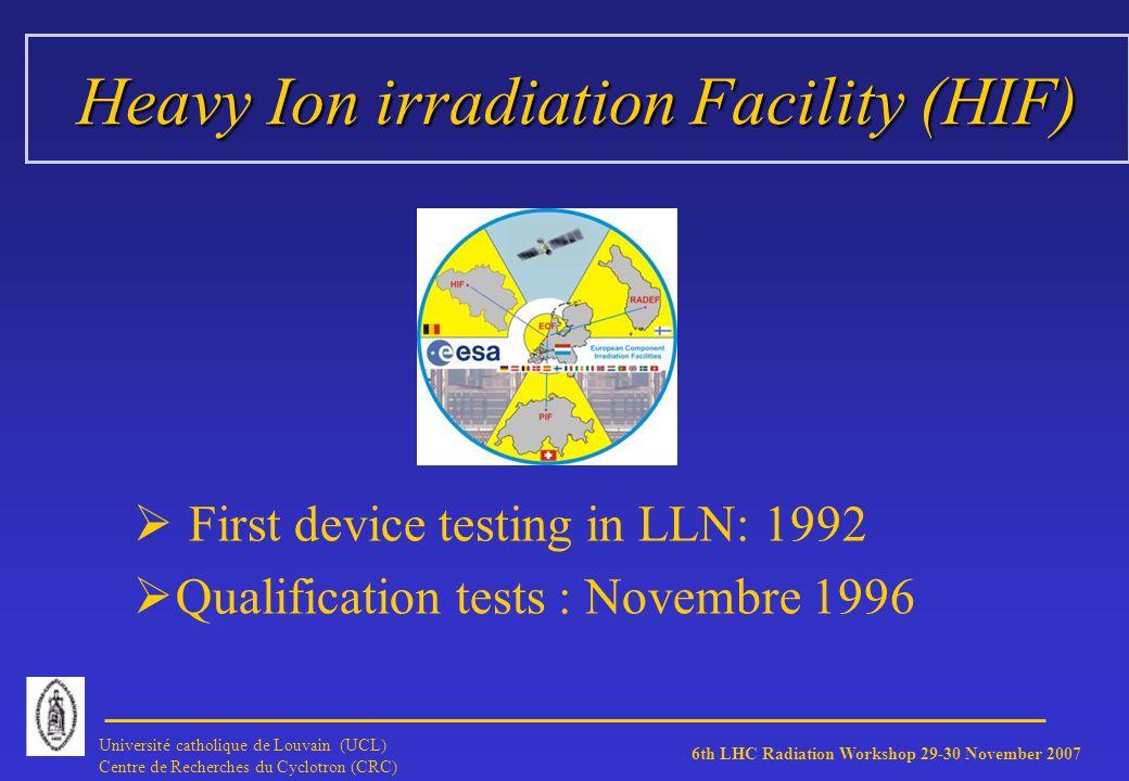 6th LHC Radiation Workshop 29-30 November 2007 Université catholique de Louvain (UCL) Centre de Recherches du Cyclotron (CRC) HIF Beam Beam:Homogeneity 10 % on diam.