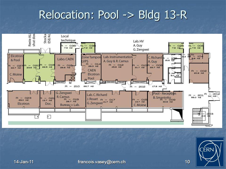 14-Jan-11francois.vasey@cern.ch10 Relocation: Pool -> Bldg 13-R