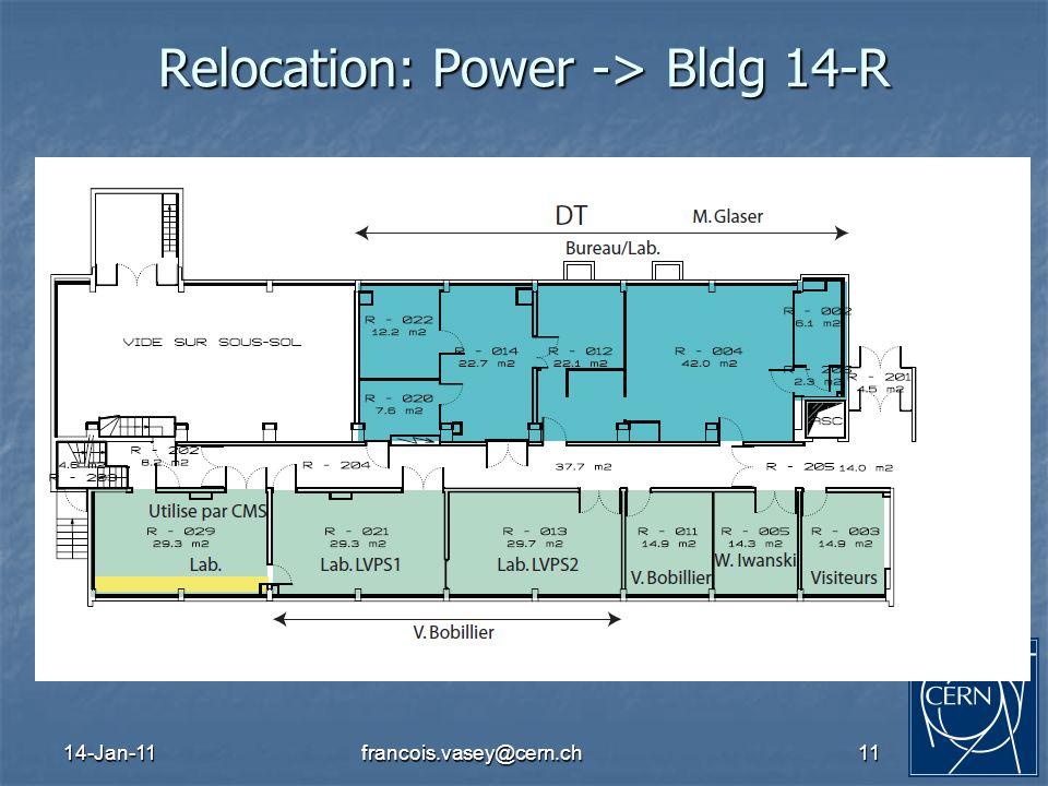14-Jan-11francois.vasey@cern.ch11 Relocation: Power -> Bldg 14-R