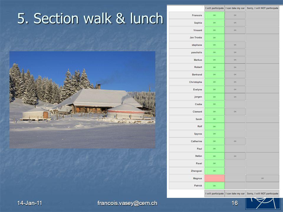 14-Jan-11francois.vasey@cern.ch16 5. Section walk & lunch