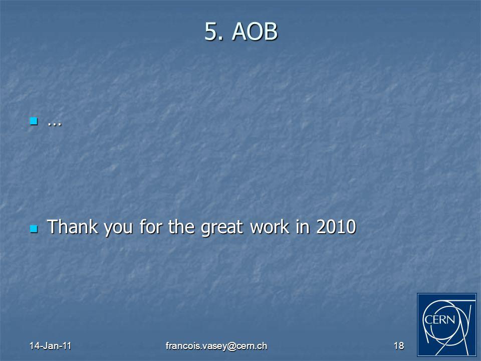 14-Jan-11francois.vasey@cern.ch18 5. AOB … Thank you for the great work in 2010 Thank you for the great work in 2010