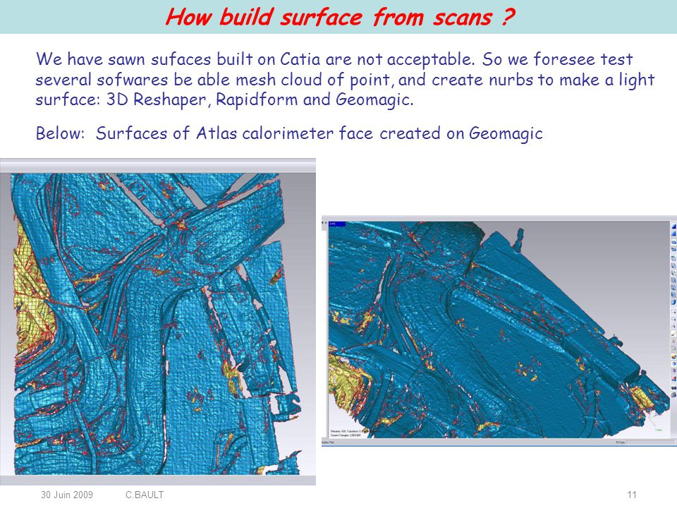 30 Juin 2009C.BAULT11 How build surface from scans .