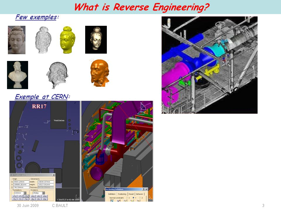 30 Juin 2009C.BAULT3 What is Reverse Engineering? Exemple at CERN: Few exemples: