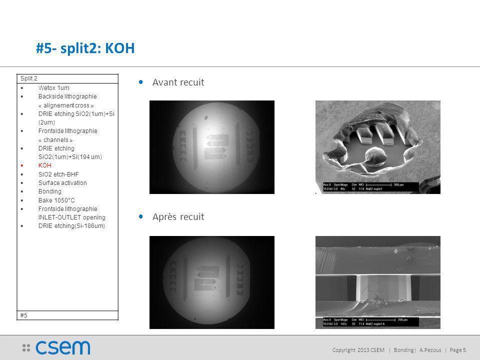 Copyright 2013 CSEM | Bonding| A.Pezous | Page 5 Avant recuit Après recuit #5- split2: KOH Split 2 Wetox 1um Backside lithographie « alignement cross