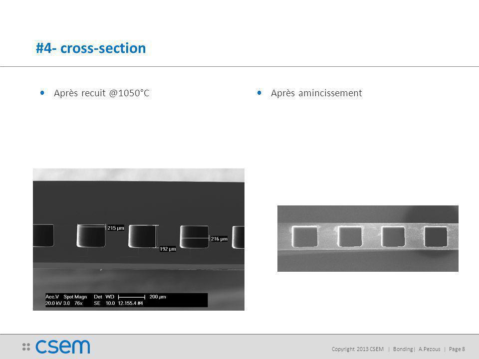 Copyright 2013 CSEM | Bonding| A.Pezous | Page 8 #4- cross-section Après recuit @1050°C Après amincissement