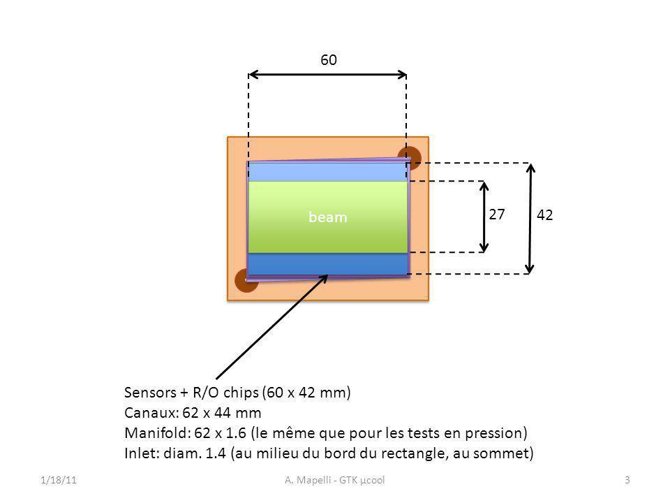 Sensors + R/Ο chips (60 x 42 mm) Canaux: 62 x 44 mm Manifold: 62 x 1.6 (le même que pour les tests en pression) Inlet: diam.