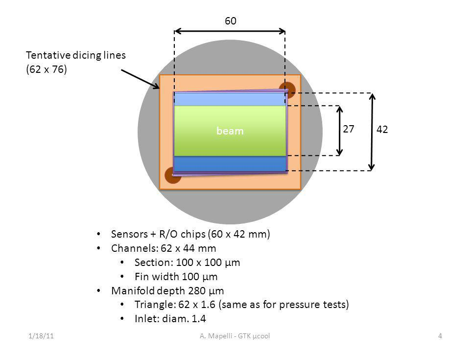 Sensors + R/Ο chips (60 x 42 mm) Channels: 62 x 44 mm Section: 100 x 100 µm Fin width 100 µm Manifold depth 280 µm Triangle: 62 x 1.6 (same as for pressure tests) Inlet: diam.