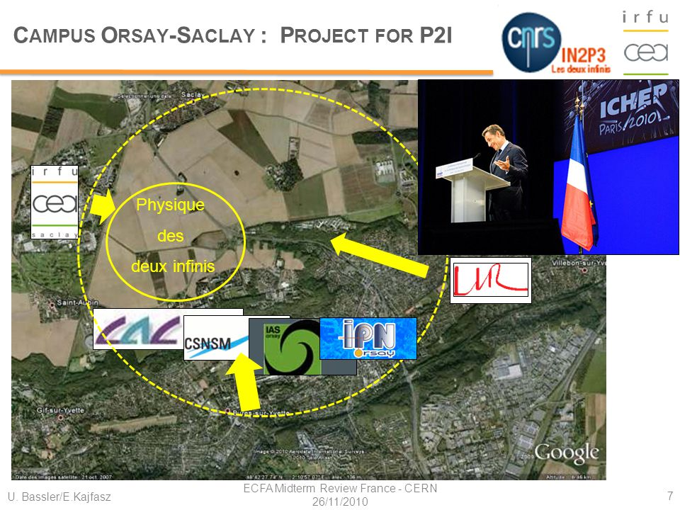 U. Bassler/E.Kajfasz ECFA Midterm Review France - CERN 26/11/2010 7 Plan Campus Saclay Physique des deux infinis C AMPUS O RSAY -S ACLAY : P ROJECT FO