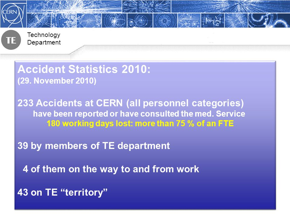 Technology Department Accident Statistics 2010: (29.