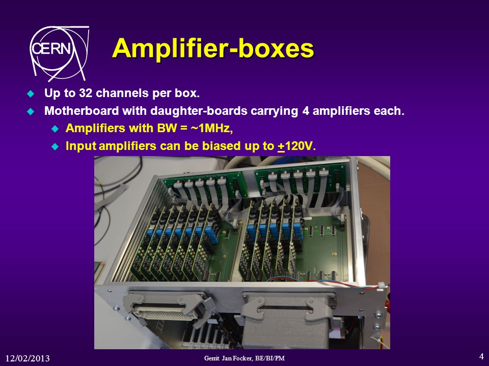 12/02/2013 Gerrit Jan Focker, BE/BI/PM 4 Amplifier-boxes u Up to 32 channels per box. u Motherboard with daughter-boards carrying 4 amplifiers each. u