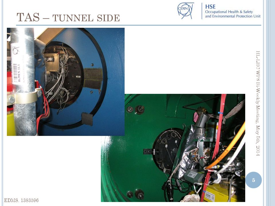 EDMS. 1383596 TAS – TUNNEL SIDE HL-LHC WP8 Bi-Weekly Meeting, May 5th, 2014 5