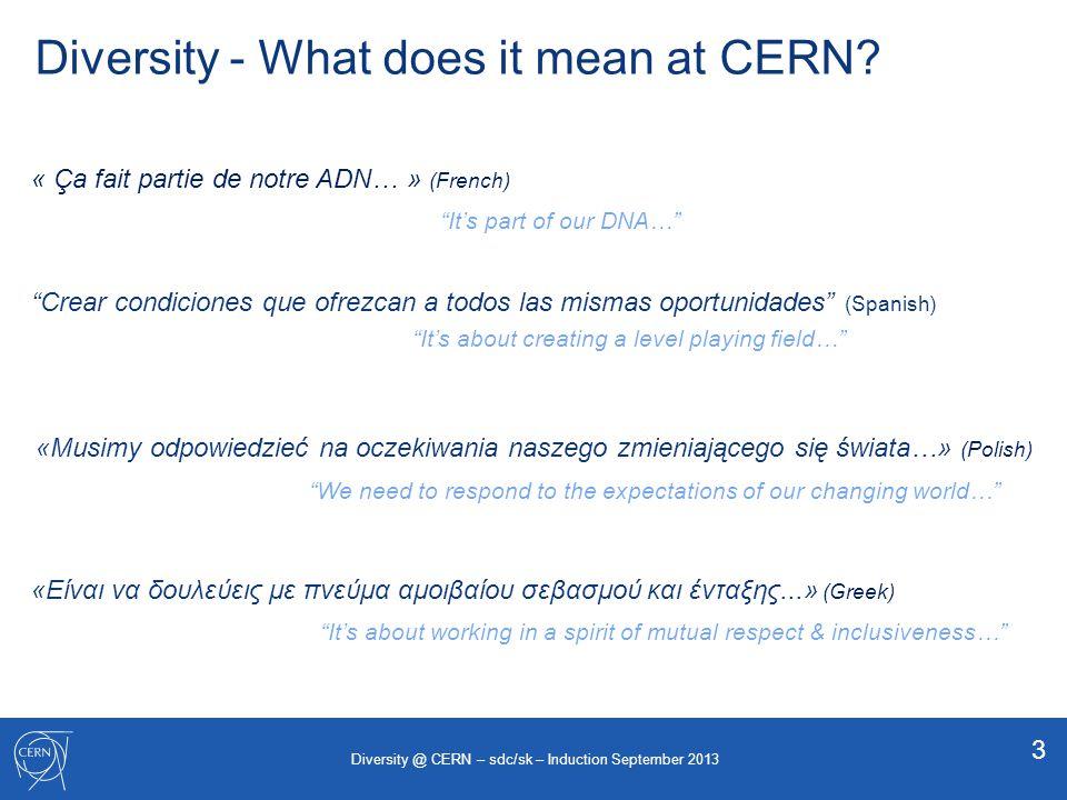 Diversity Dimensions positive action positive discrimination enable all – favour none 4 Diversity @ CERN – sdc/sk – Induction September 2013