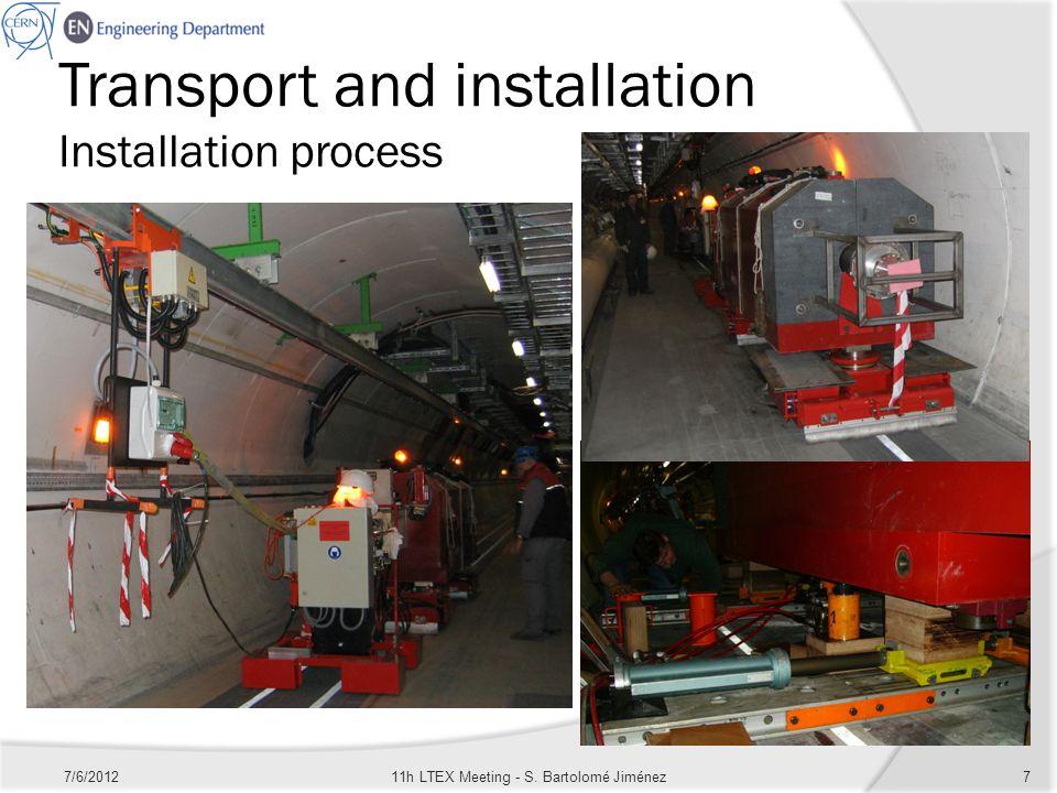 Transport and installation Installation process 7/6/201211h LTEX Meeting - S. Bartolomé Jiménez7