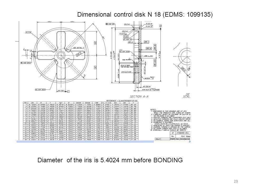 29 Dimensional control disk N 18 (EDMS: 1099135) Diameter of the iris is 5.4024 mm before BONDING