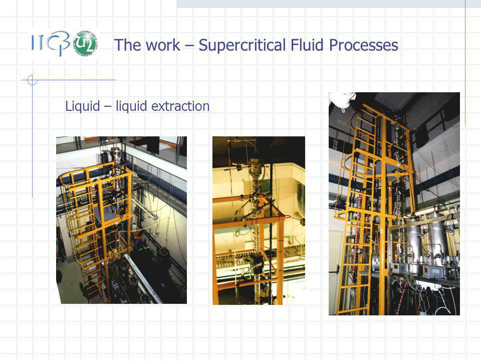 The work – Supercritical Fluid Processes Liquid – liquid extraction