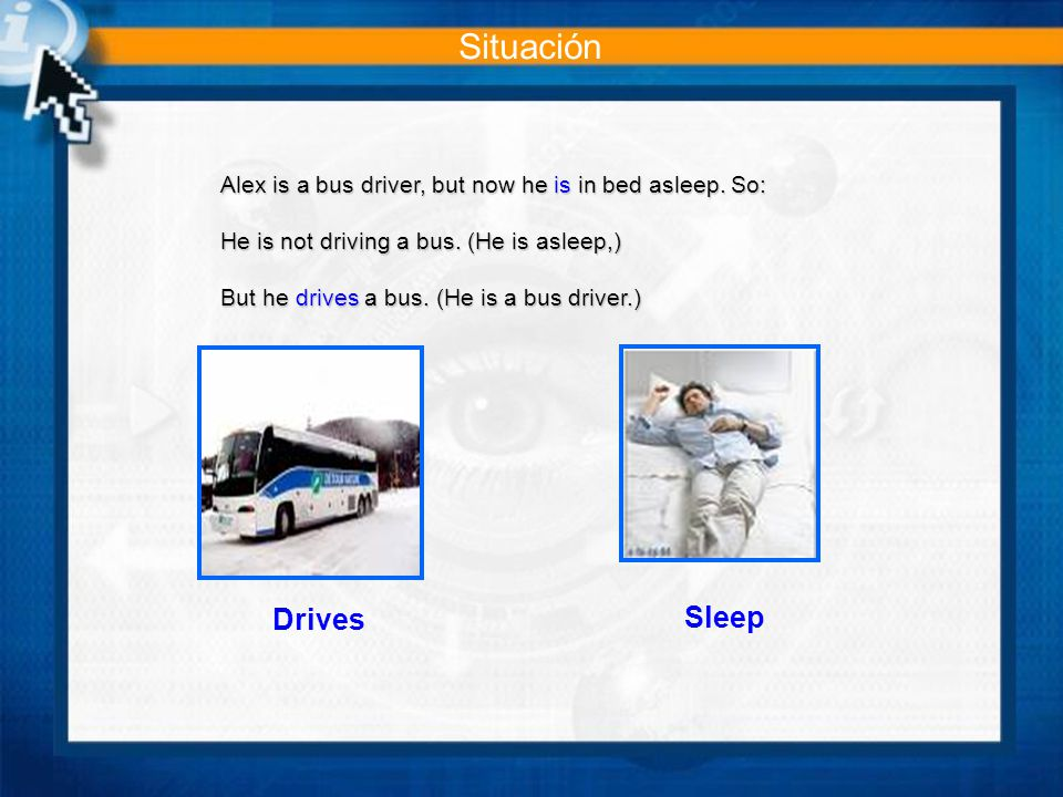 Alex is a bus driver, but now he is in bed asleep.