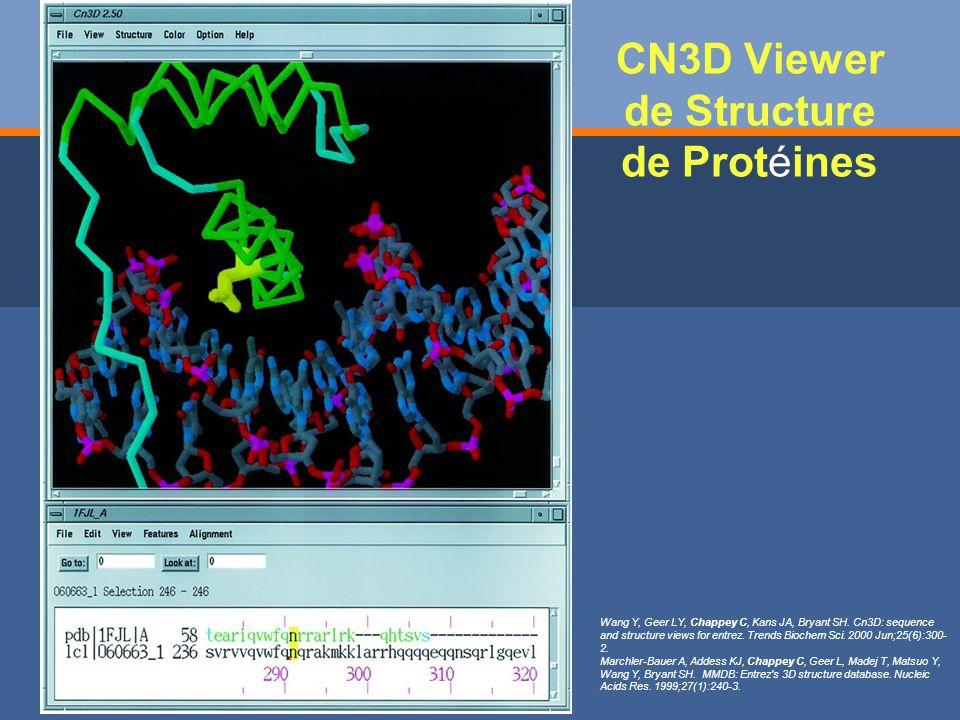 CN3D Viewer de Structure de Protéines Wang Y, Geer LY, Chappey C, Kans JA, Bryant SH.
