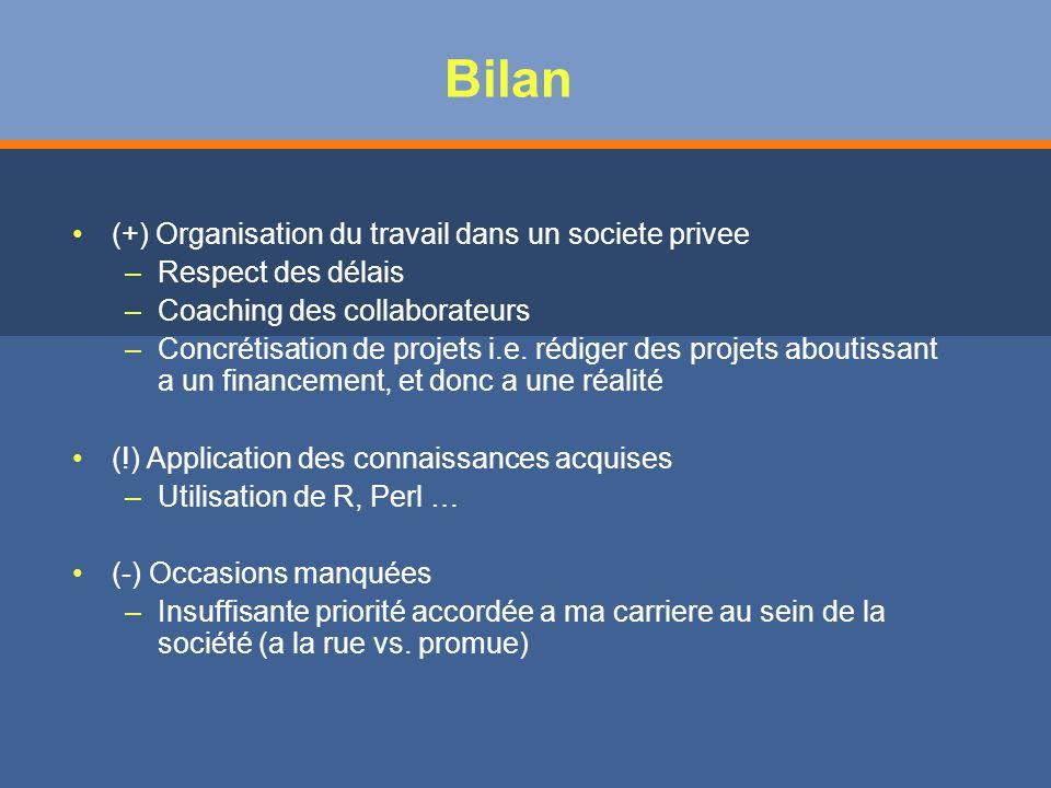 Bilan (+) Organisation du travail dans un societe privee – –Respect des délais – –Coaching des collaborateurs – –Concrétisation de projets i.e.