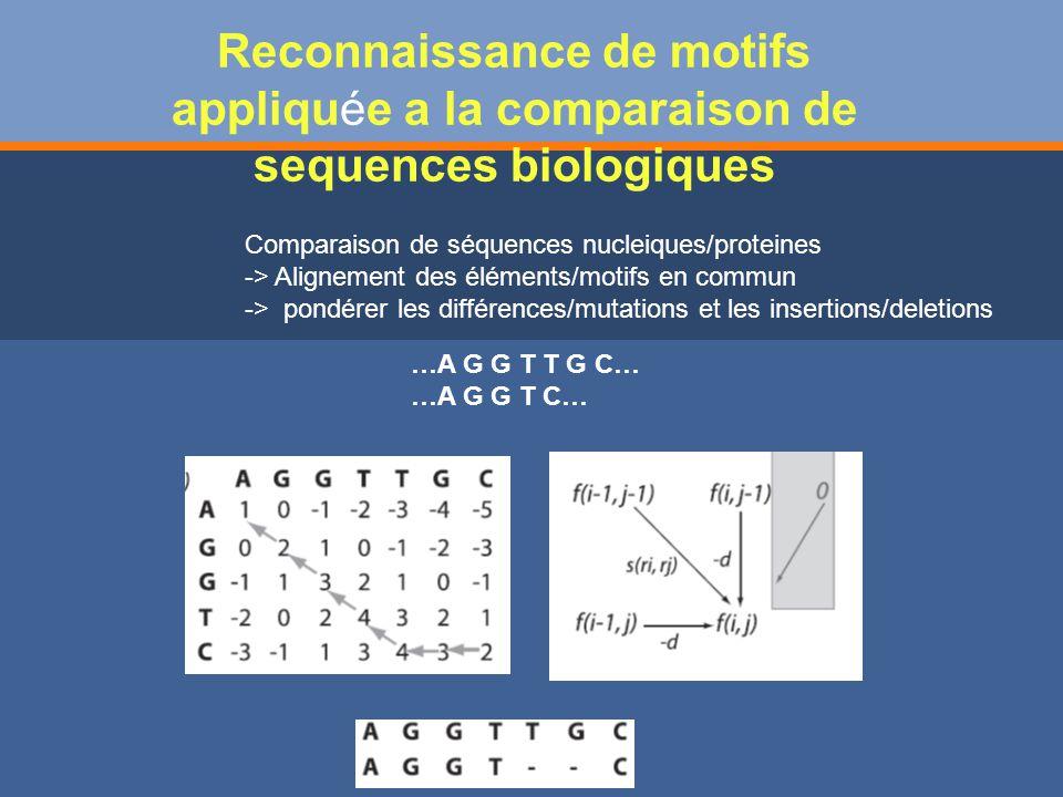 Reconnaissance de motifs appliquée a la comparaison de sequences biologiques …A G G T T G C… …A G G T C… Comparaison de séquences nucleiques/proteines -> Alignement des éléments/motifs en commun -> pondérer les différences/mutations et les insertions/deletions