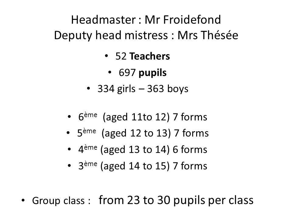 Headmaster : Mr Froidefond Deputy head mistress : Mrs Thésée 52 Teachers 697 pupils 334 girls – 363 boys 6 ème (aged 11to 12) 7 forms 5 ème (aged 12 t
