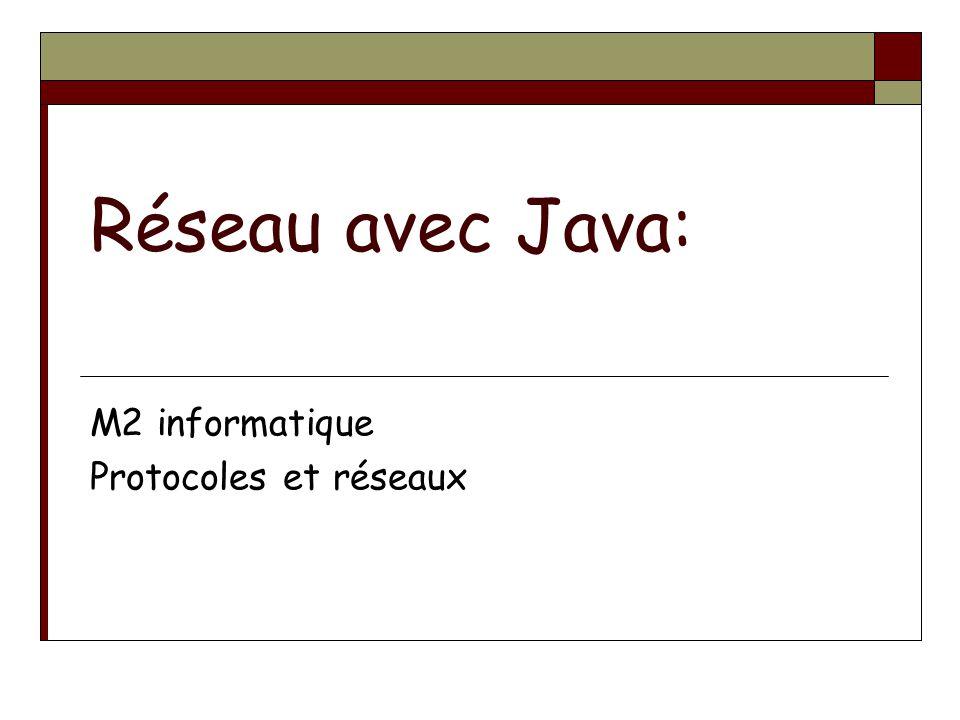 Réseau avec Java: M2 informatique Protocoles et réseaux