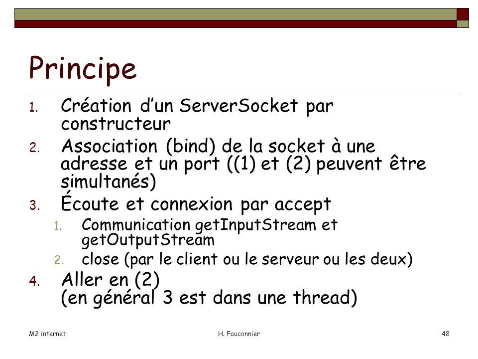 M2 internetH. Fauconnier48 Principe 1. Création dun ServerSocket par constructeur 2.