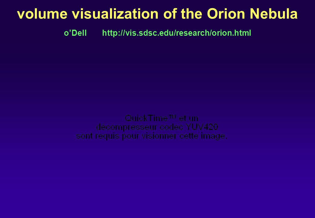 volume visualization of the Orion Nebula oDell http://vis.sdsc.edu/research/orion.html