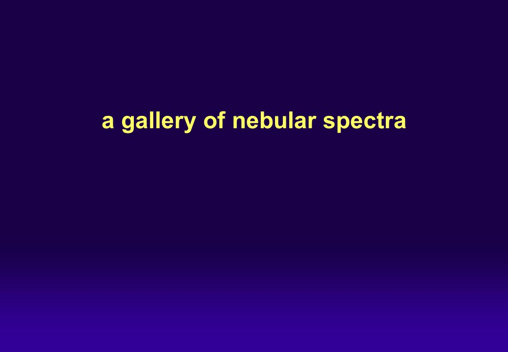 a gallery of nebular spectra