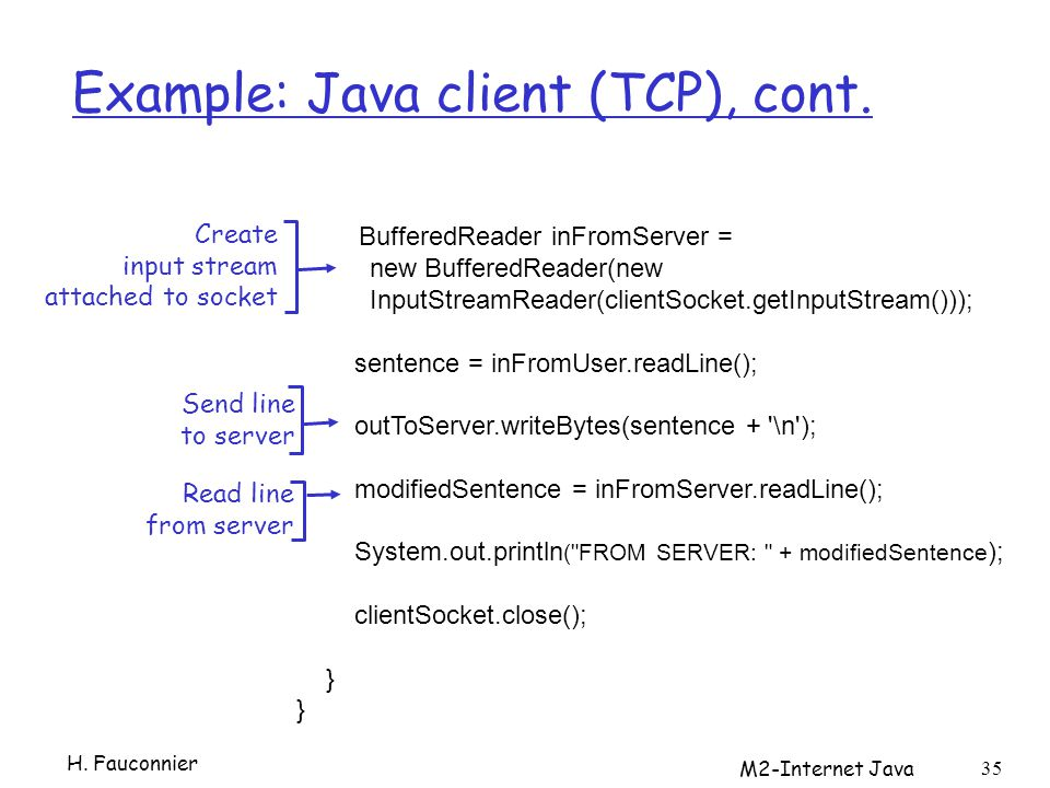 M2-Internet Java 35 Example: Java client (TCP), cont. BufferedReader inFromServer = new BufferedReader(new InputStreamReader(clientSocket.getInputStre