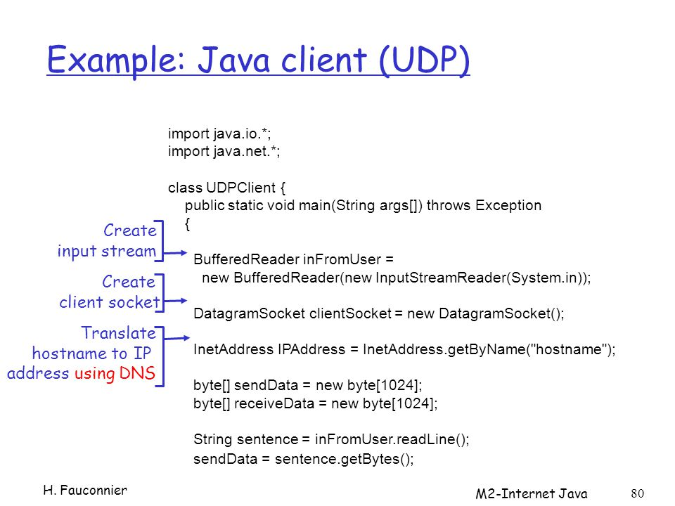 M2-Internet Java 80 Example: Java client (UDP) import java.io.*; import java.net.*; class UDPClient { public static void main(String args[]) throws Ex