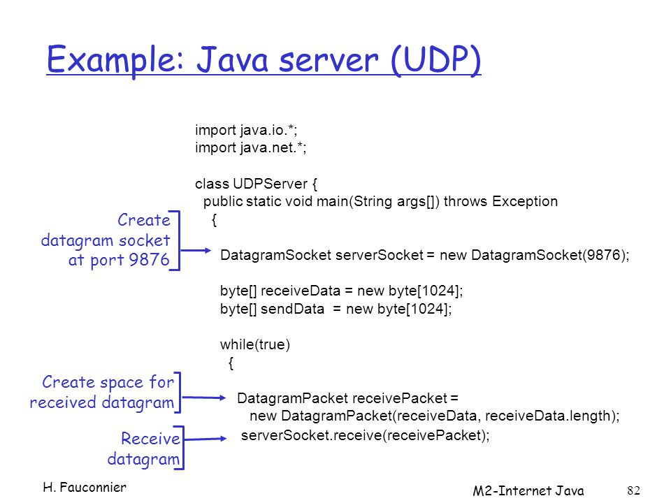 M2-Internet Java 82 Example: Java server (UDP) import java.io.*; import java.net.*; class UDPServer { public static void main(String args[]) throws Ex