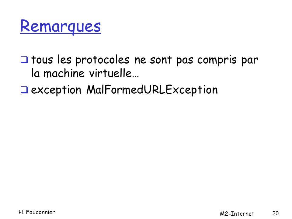 Remarques tous les protocoles ne sont pas compris par la machine virtuelle… exception MalFormedURLException 20 H.