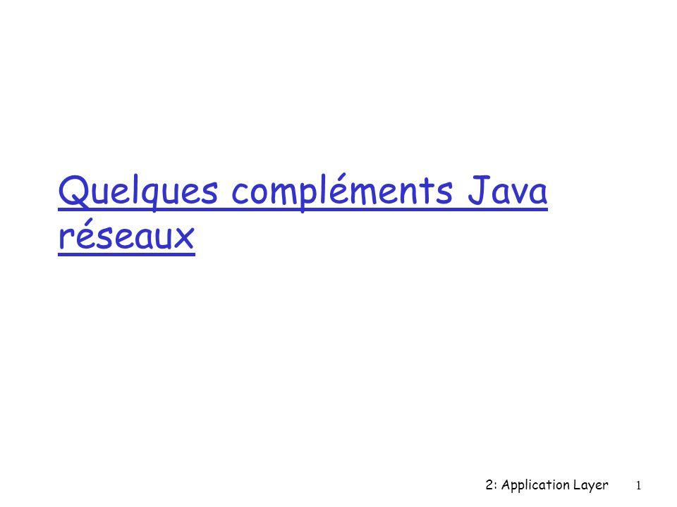 2: Application Layer1 Quelques compléments Java réseaux