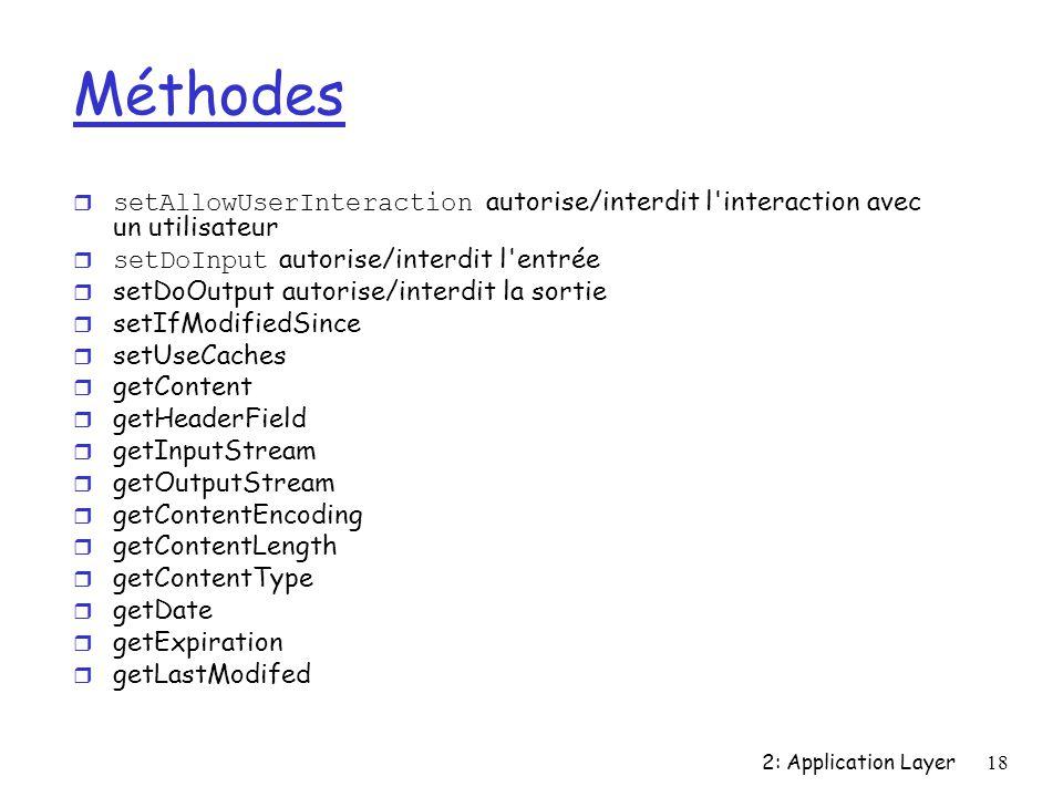 2: Application Layer18 Méthodes setAllowUserInteraction autorise/interdit l interaction avec un utilisateur setDoInput autorise/interdit l entrée r setDoOutput autorise/interdit la sortie r setIfModifiedSince r setUseCaches r getContent r getHeaderField r getInputStream r getOutputStream r getContentEncoding r getContentLength r getContentType r getDate r getExpiration r getLastModifed