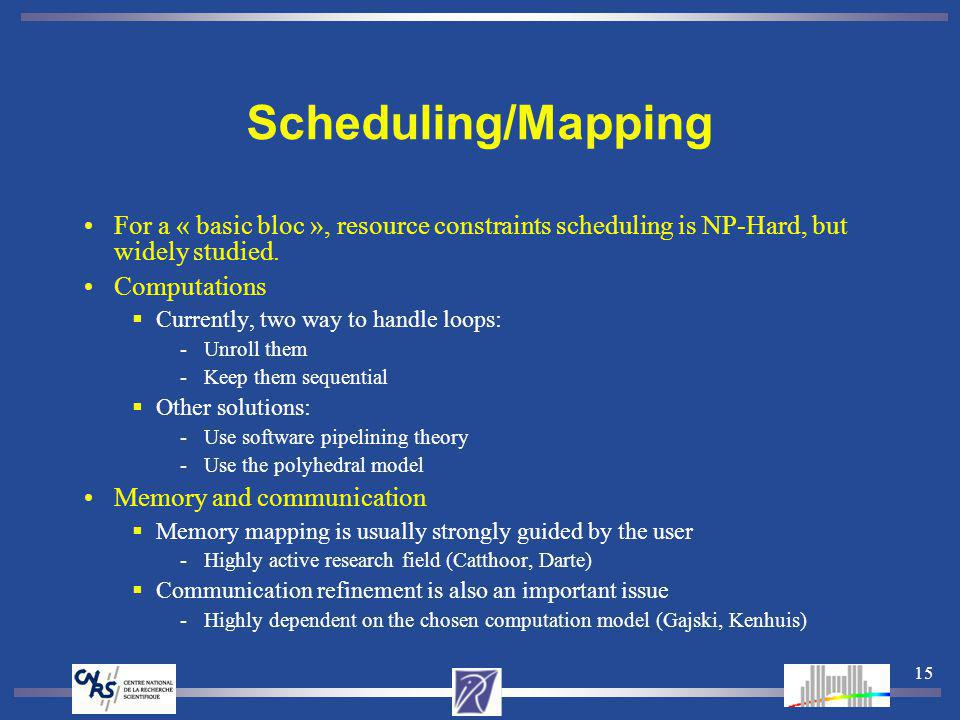 15 Scheduling/Mapping For a « basic bloc », resource constraints scheduling is NP-Hard, but widely studied. Computations Currently, two way to handle