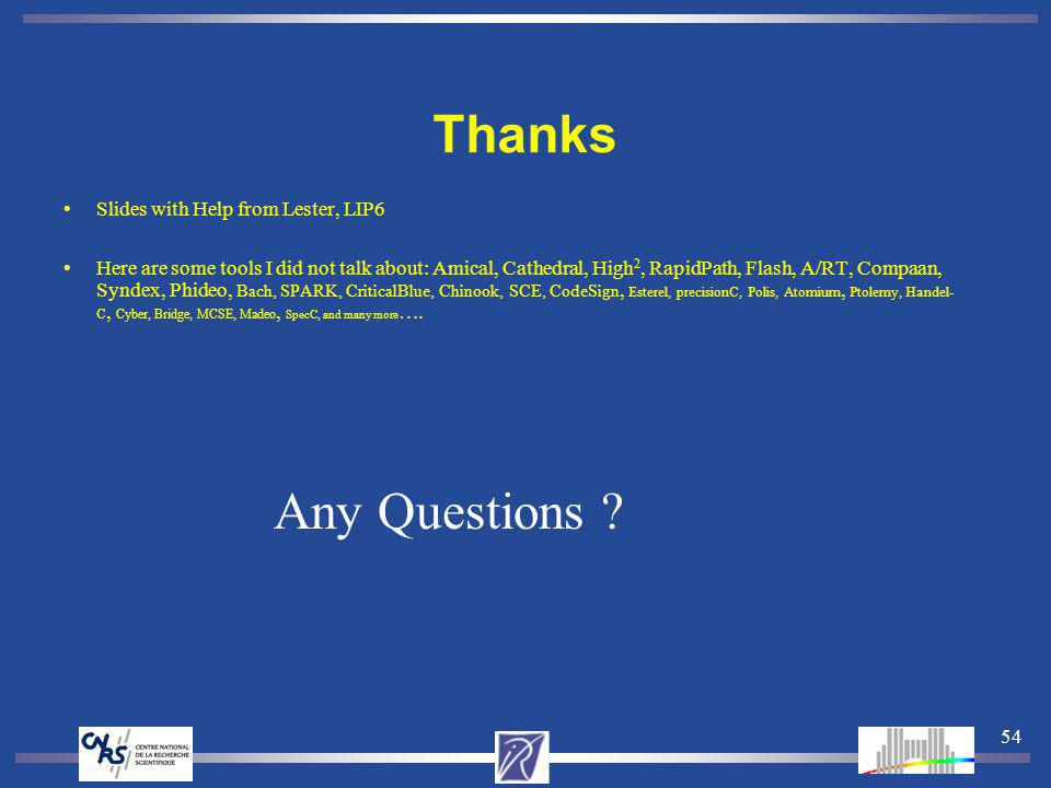 54 Thanks Slides with Help from Lester, LIP6 Here are some tools I did not talk about: Amical, Cathedral, High 2, RapidPath, Flash, A/RT, Compaan, Syndex, Phideo, Bach, SPARK, CriticalBlue, Chinook, SCE, CodeSign, Esterel, precisionC, Polis, Atomium, Ptolemy, Handel- C, Cyber, Bridge, MCSE, Madeo, SpecC, and many more ….