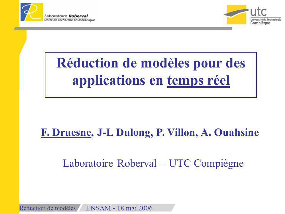 Réduction de modèles 18 mai 2006ENSAM - Réduction de modèles pour des applications en temps réel F.