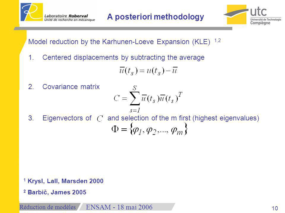 Réduction de modèles 18 mai 2006ENSAM - Model reduction by the Karhunen-Loeve Expansion (KLE) 1,2 1.Centered displacements by subtracting the average 2.Covariance matrix 3.Eigenvectors of and selection of the m first (highest eigenvalues) A posteriori methodology 1 Krysl, Lall, Marsden 2000 2 Barbič, James 2005 10