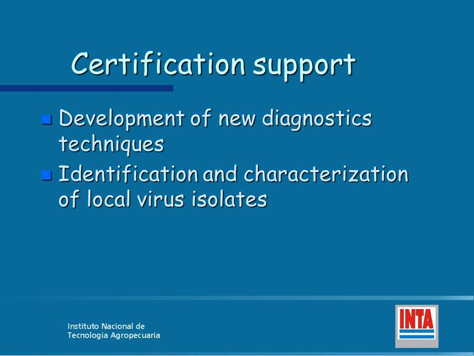 Certification support n Development of new diagnostics techniques n Identification and characterization of local virus isolates