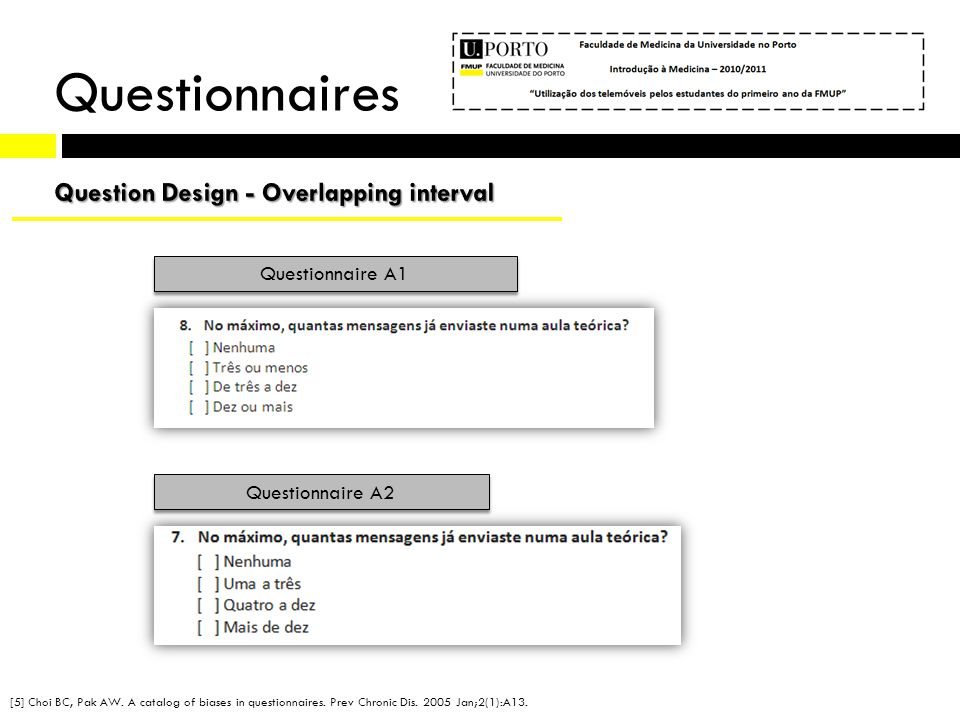 Questionnaire A1 Questionnaire A2 Questionnaires [5] Choi BC, Pak AW. A catalog of biases in questionnaires. Prev Chronic Dis. 2005 Jan;2(1):A13.