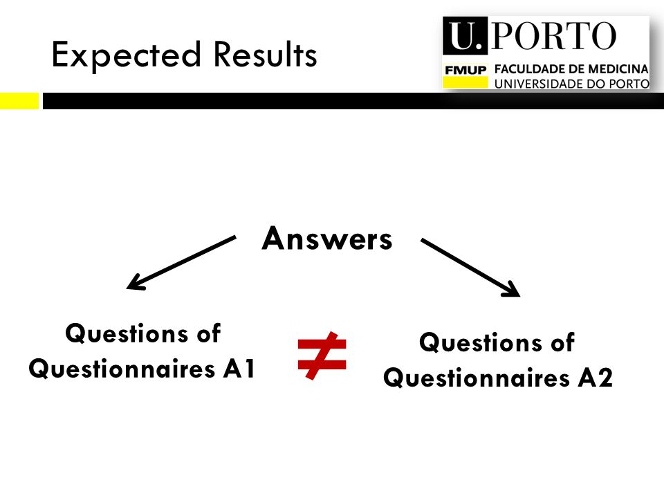 Expected Results Answers Questions of Questionnaires A1 Questions of Questionnaires A2