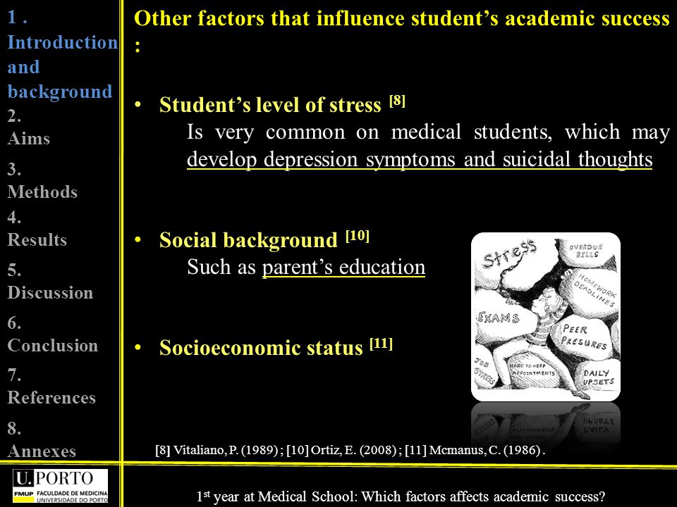 Other factors that influence students academic success : Students level of stress [8] Is very common on medical students, which may develop depression symptoms and suicidal thoughts Social background [10] Such as parents education Socioeconomic status [11] [8] Vitaliano, P.
