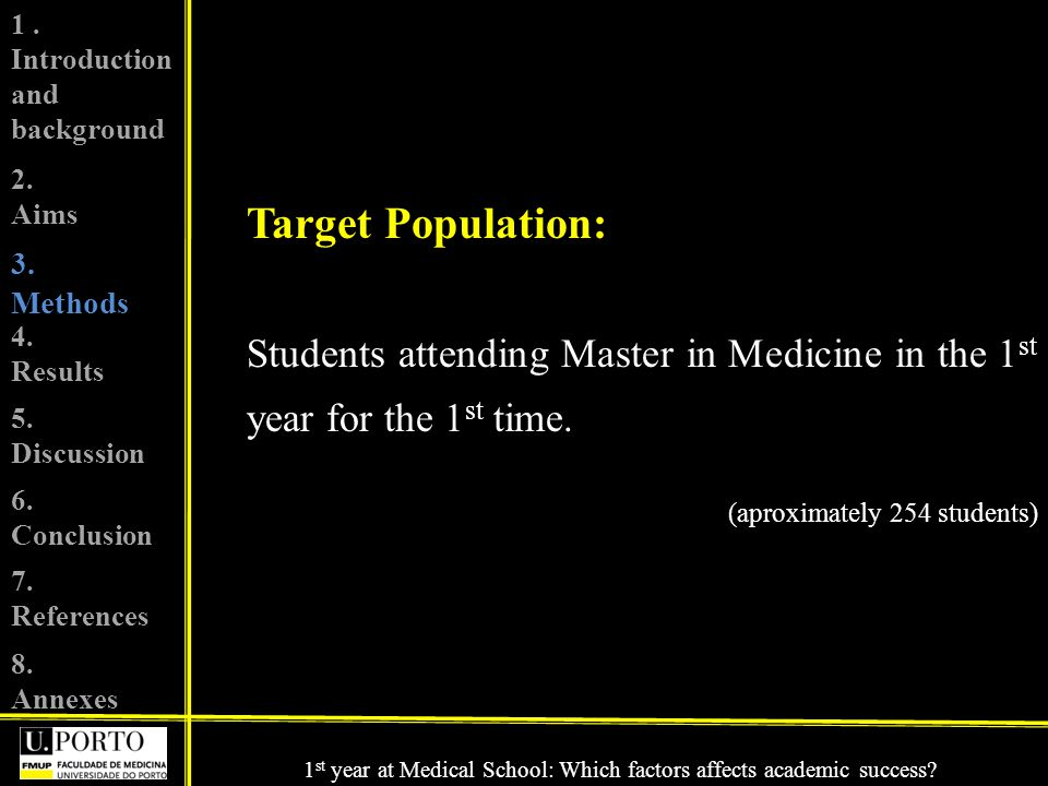 Target Population: Students attending Master in Medicine in the 1 st year for the 1 st time.