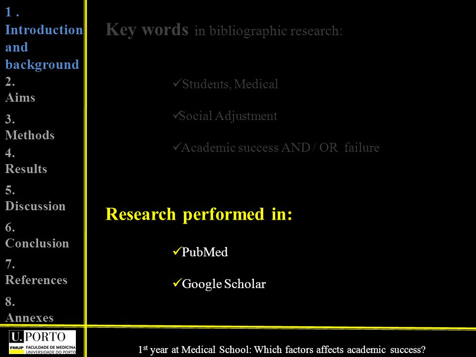 Key words in bibliographic research: Students, Medical Social Adjustment Academic success AND / OR failure Research performed in: PubMed Google Scholar 1.