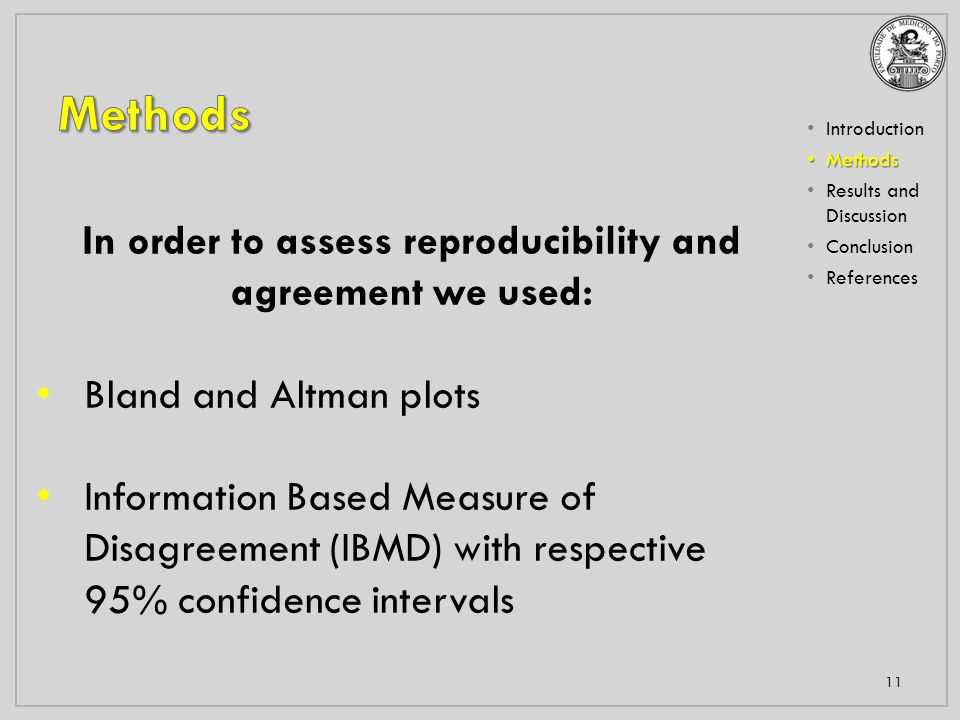 Introduction Methods Methods Results and Discussion Conclusion References 11 In order to assess reproducibility and agreement we used: Bland and Altman plots Information Based Measure of Disagreement (IBMD) with respective 95% confidence intervals